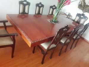 Comedor estilo colonial tallado 8 sillas lima posot class for Juego de comedor lima