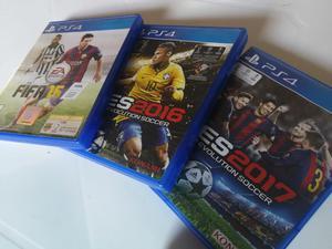 PES 16, PES 17 Y FIFA 17 PS4