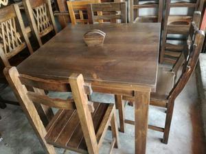 Comedores de 6 sillas en madera pino posot class for Comedores en pino