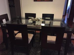 Juego comedor redondo usado marron oscuro 4 sillas posot for Juego de comedor redondo 4 sillas