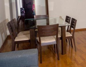 Juego comedor saga posot class for Juego de comedor madera 6 sillas