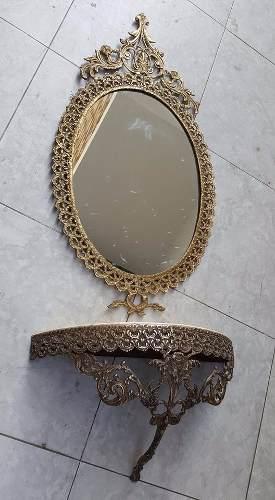 Antigua Consola Y Marco De Espejo De Bronce Y Marmol