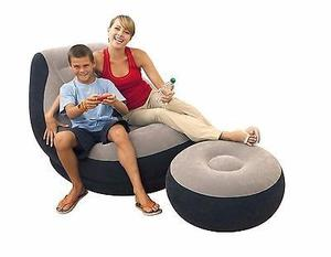 Puff Sofa Sillon Inflable + Reposapies De 2 Piezas