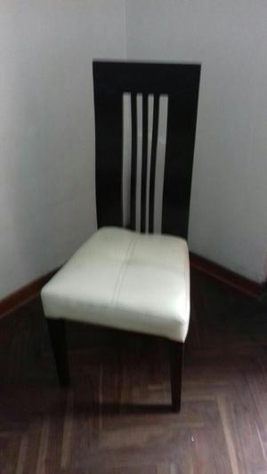 Sillas de madera con tapiz y espaldar de cuero posot class for Tapiz para sillas de comedor