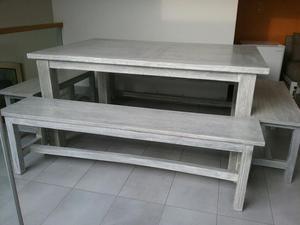 Juego de comedor moderno acabado wash posot class for Juego comedor terraza madera