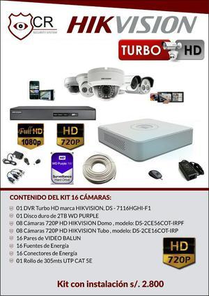 Kit Completo 16 Camaras Hikvision
