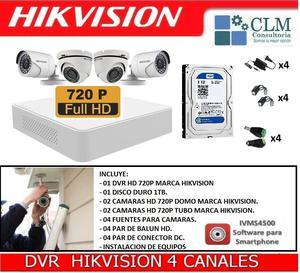 Kit Completo 4 Camaras De Seguridad Hikvision Instalacion