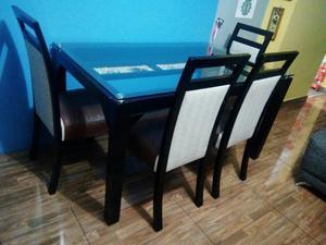 Mesa madera color negro para sala o departamento2 posot - Mesa comedor 6 sillas ...