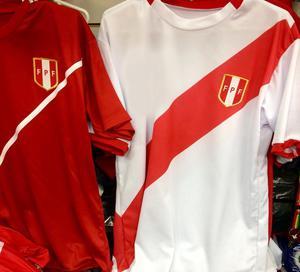 Polos Peru en Rojo/Blanco Cuello Redondo Talla M Precio por