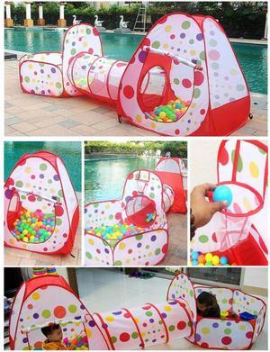 Carpa Tunel 3 en 1 para Niños Y Bebes