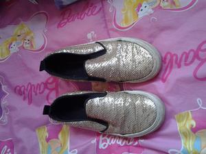 Zapatillas LOVE vans Ninas talla 32 con lentejuelas doradas