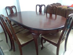 Juego de comedor color cafe 6 sillas posot class for Comedor 6 sillas usado