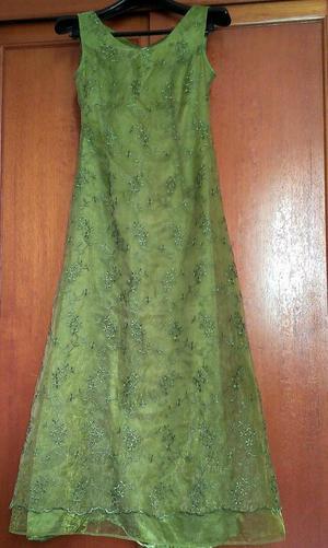 Lindo Vestido de Noche/ Promoción Verde Bordado