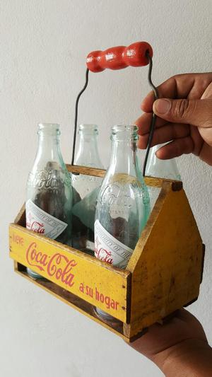 Antigua Caja O Java de Coca Cola Mas 4 Botellas