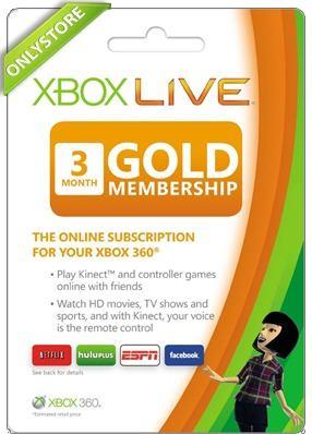 Membresia Microsoft Xbox Live Gold 3 Meses - Xbox One Y 360