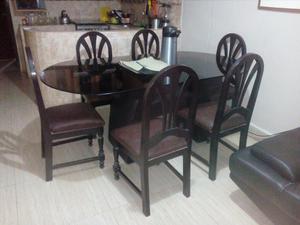 Comedor en cedro con mesa vidrio lima posot class - Mesa comedor vidrio ...