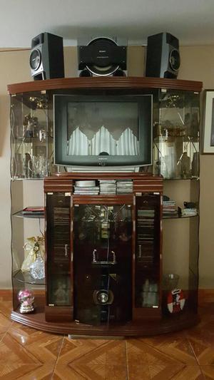 Mueble para televisor dvd y equipo de sonido posot class for Mueble de entretenimiento