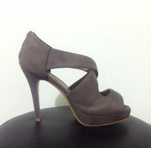 Zapatos De Taco Mujer De Cuero Pu Gamuzado Talla 38 Nuevos
