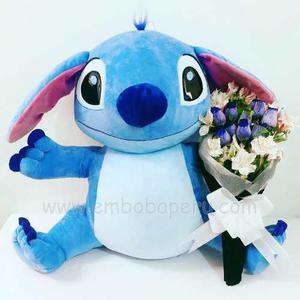 Peluche Stitch Gigante + Rosas Azules   Emboba