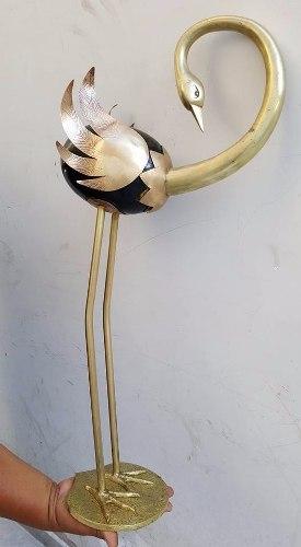 Antigua Garza De Bronce Pesado Mide 65cm