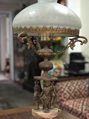 Lámpara Antigua De Bronce Y Ónix (Angeles)