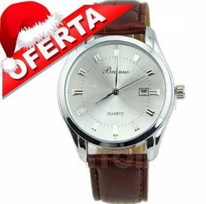 Reloj Hombre Elegante Correa Cuero, Navidad Regalo Varón
