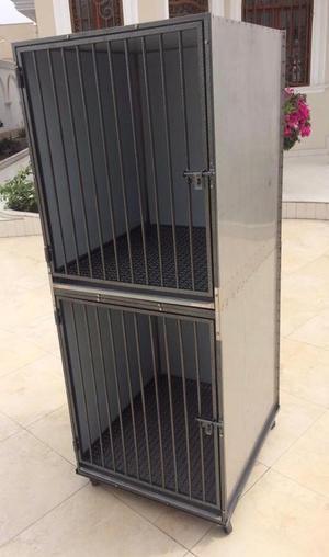 Jaula Canil doble para veterinaria Perros y Gatos