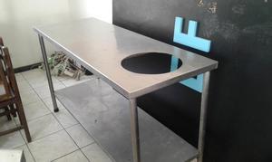 Trampa de grasa mesa de trabajo cocina con plancha posot - Mesa de trabajo cocina ...