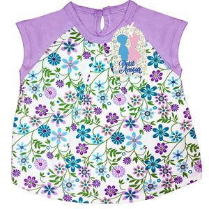 Polo de niña Eclaire floreado con mangas moradas