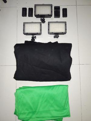 Fondo Fotográfico Negro 3x6 Mtrs + 2 Fondos Verdes+ 3 Luces