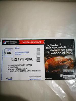 Vendo Ticket Pavo San Fernando 9 Kg