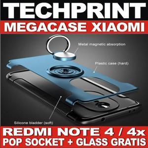 Case Xiaomi Redmi Note 4 4x Vidrio Templado Pop Socket