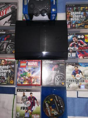 playstation 3 con un mando nuevo en caja y 10 juegos