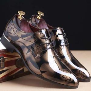 Zapato Cuero Genuino Patrón Charol Floral Hombres (a