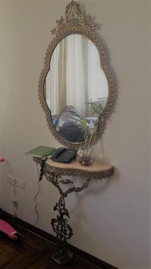 espejo de bronce y pedestal con bronce y marmol