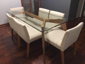 Moderna mesa de comedor para 6 sillas vidrio posot class for Comedor vidrio 6 sillas
