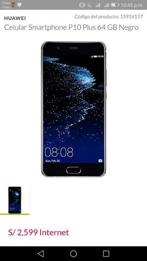 Huawei P 10 Plus Nuevo con Mica de Vidri