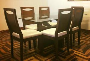Juego de comedor 6 sillas metal mesa de vidrio 8 posot class for Comedor 6 sillas