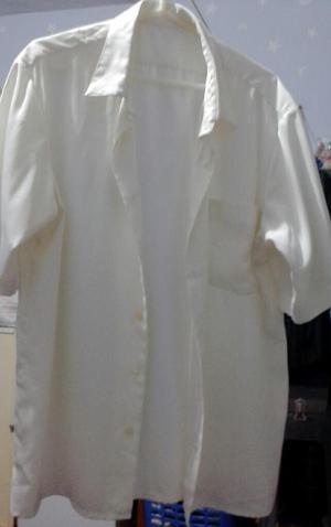 Camisa L de Seda Crema para Caballero