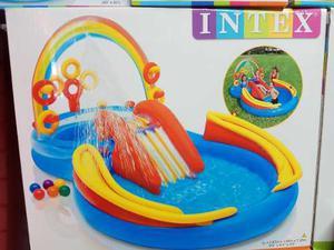 Intex Piscina Inflable Arcoiris Resbaladiza Juguetes 2 En 1