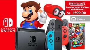 Nintendo Switch Neon + Mario Odyssey+ Mica Vidrio