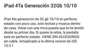 iPad 4ta Generación 32 Gb Casi Nuevo