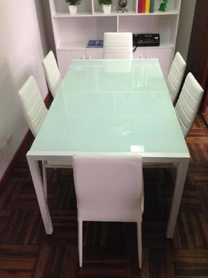 Juego de comedor 6 sillas mesa posot class for Comedor para oficina