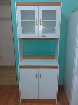 Oferta mueble auxiliar blanco alto cocina posot class for Mueble auxiliar alto