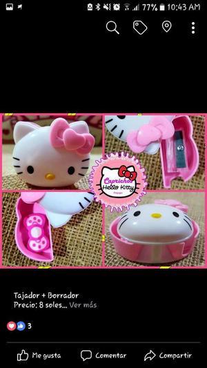2 en 1 Tajador Y Borrador Hello Kitty