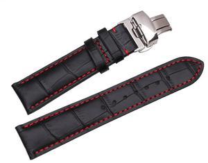 Correa Para Reloj De 22mm Color Negro Con Costura Roja