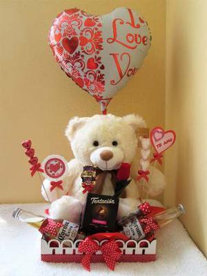 Arreglo Peluche Mujer Chocolate Rosas Amor Valentin 37 Cm