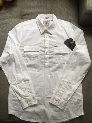Camisa Manga Larga Guess Talla M Regular Fit Blanca De 05