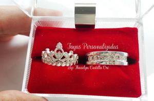 Coronas para enamorados en plata 950