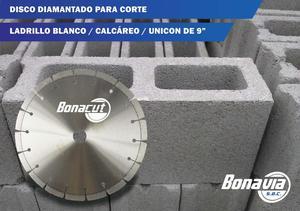 Disco Diamantado de 9 Para Corte Ladrillo Blanco, Calcáreo,